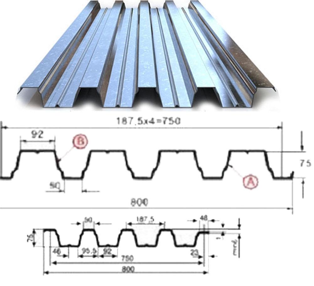 Профнастил Н-57-800мм цинк 0,75мм